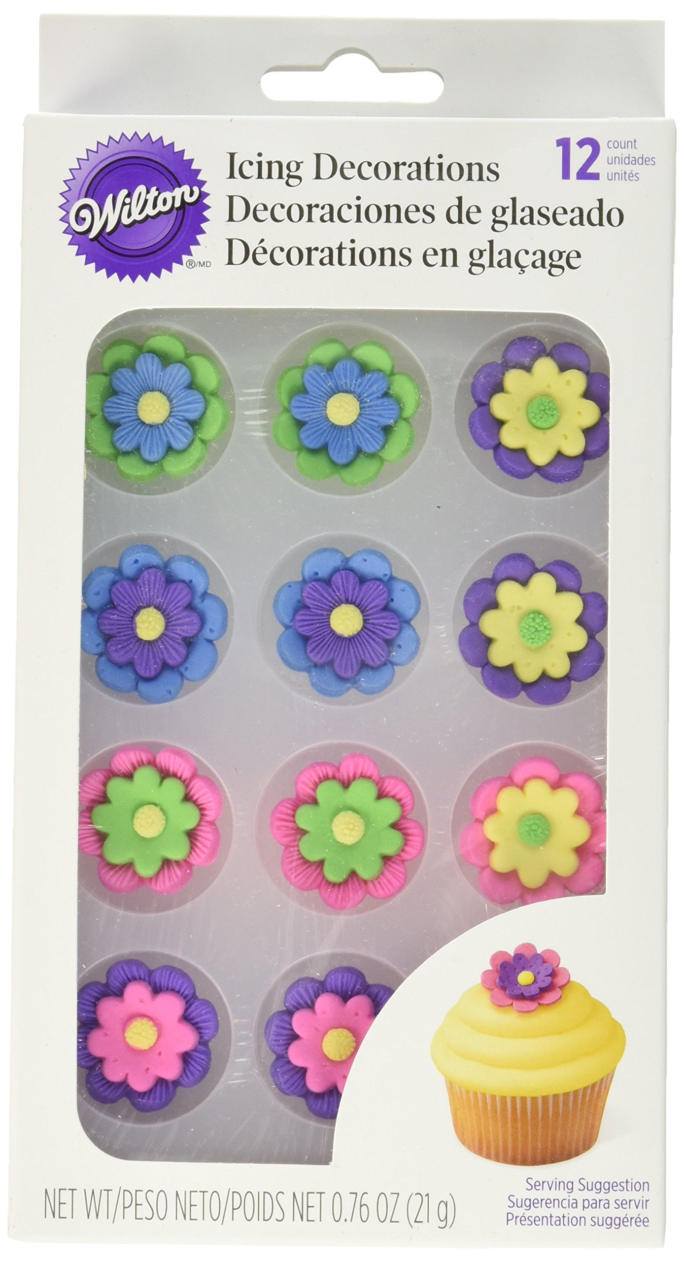 """Wilton Royal Icing Decorations (12 Pack), 1"""", Multicolor Flowers"""