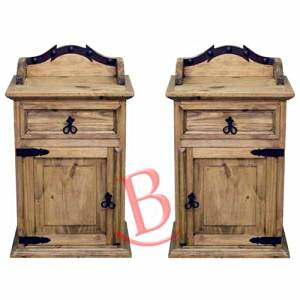 Two Rustic Alamo Nightstands Solid Wood Western Style