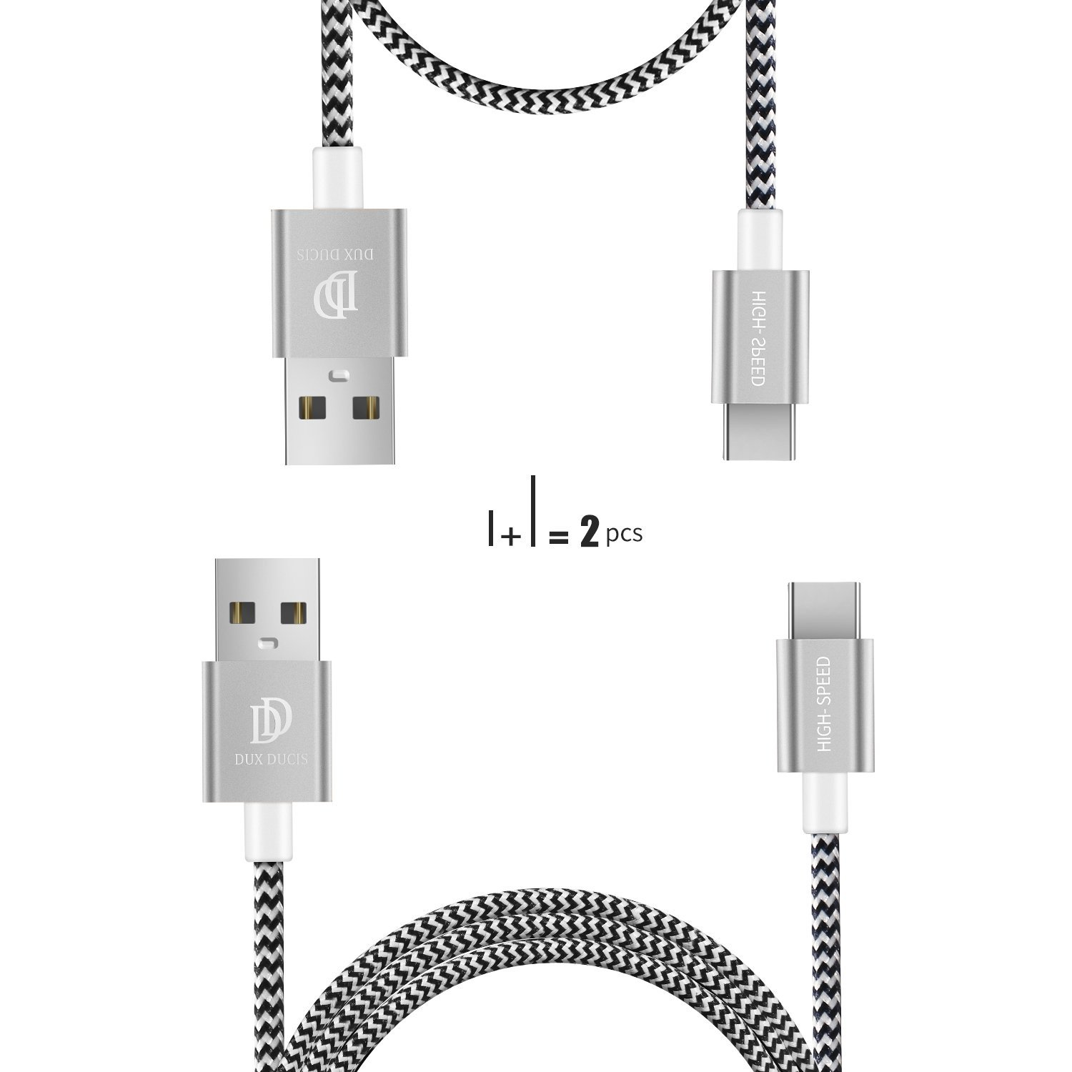 2-Pack USB Type C Cable by D-CASE - Nylon Charging/Data Cable, USB C To USB A for Sony Xperia XZ, LG G5/V20, Google Nexus 5X/6P, Huawei Mate 9/P9 Plus, HTC 10(100CM & 20CM)(silver)
