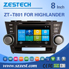 auto radio multimedia car entertainment system for toyota highlander 2008-2014 car dvd player gps navigation with 3G BT