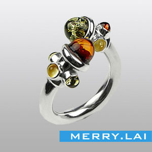 Genuine Multicolor Amber and Stailess Steel Adjustable Designer Ring for woman All Sizes Available
