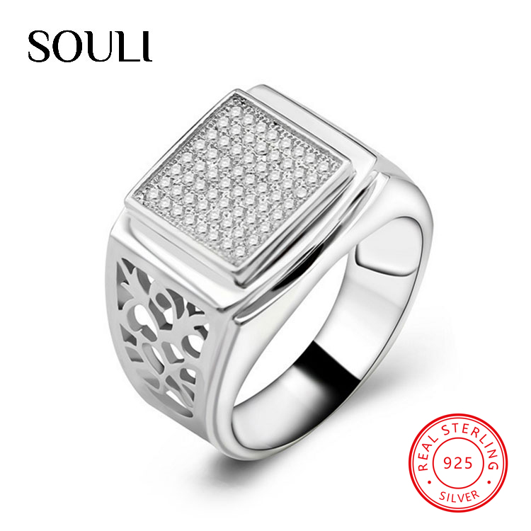 Custom Top Quality Graceful Men Jewelry S925 Sterling Silver Square CZ Ring