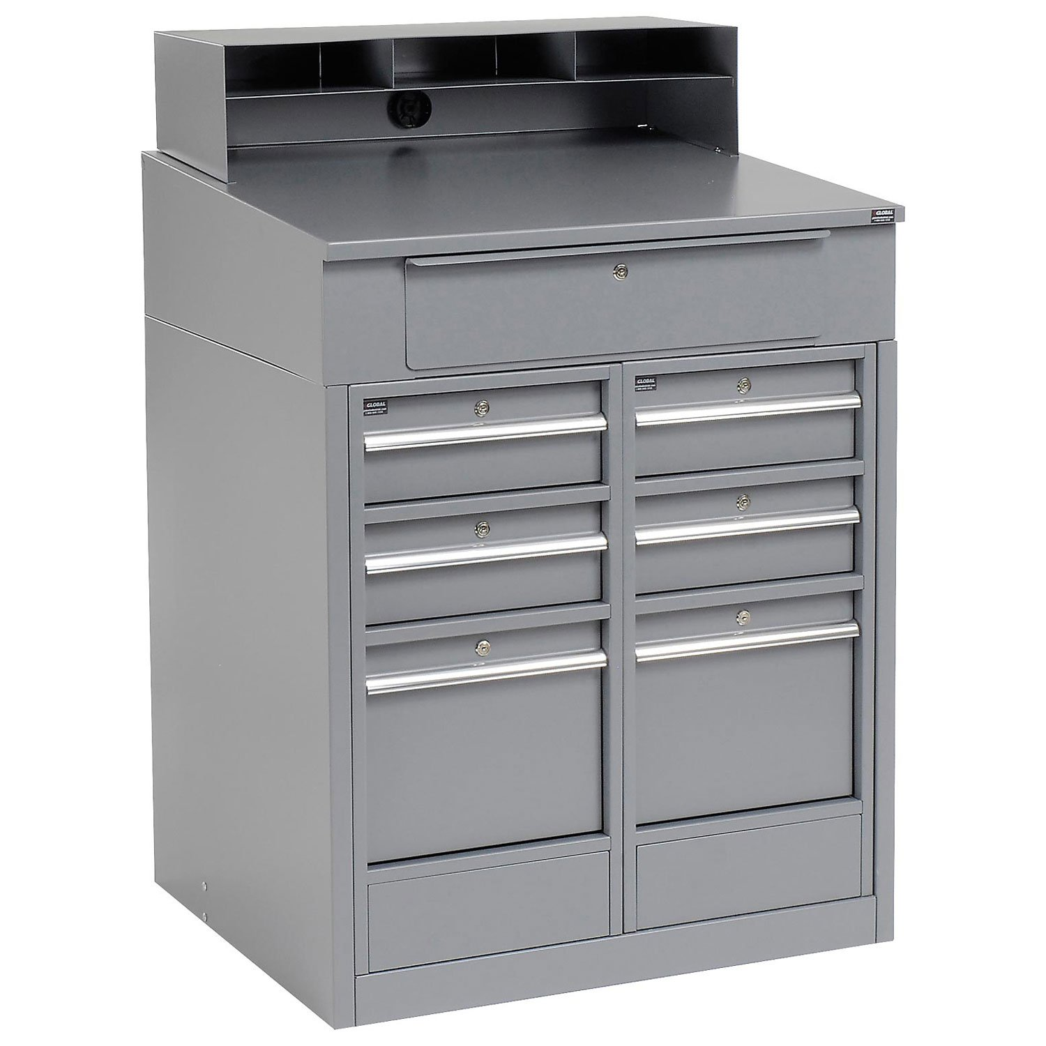 """Shop Desk with 7 Drawers, 34-1/2""""W x 30""""D x 51-1/2""""H, Gray"""