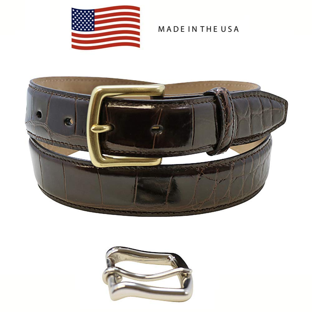 38MM Genuine Italian Calf Skin Alligator Embossed Belt Strap 1.5