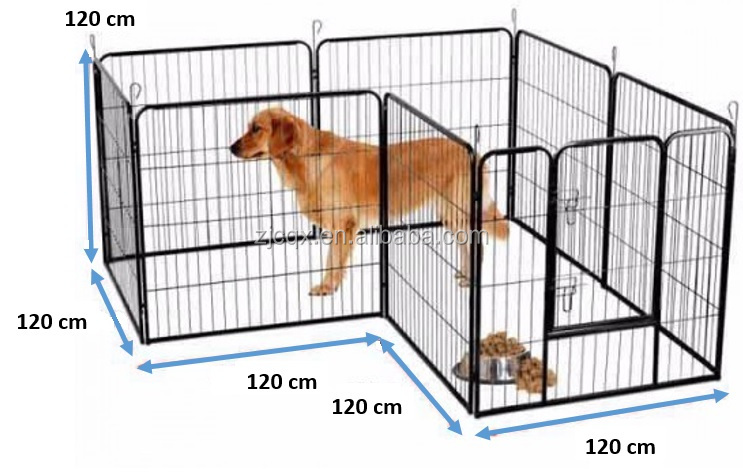 Dog Kennel Run Playpen Portable Exercise Cage Fence Enclosure 8 Panels 120cm X