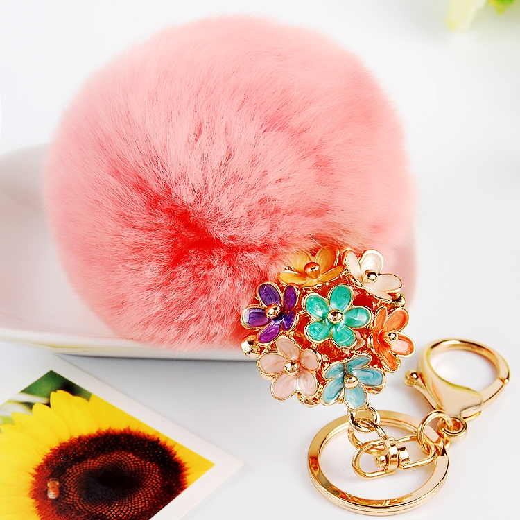 Hot-selling Product Purple Color Pom Pom with Flower Charm Key Chain / Purse Charm