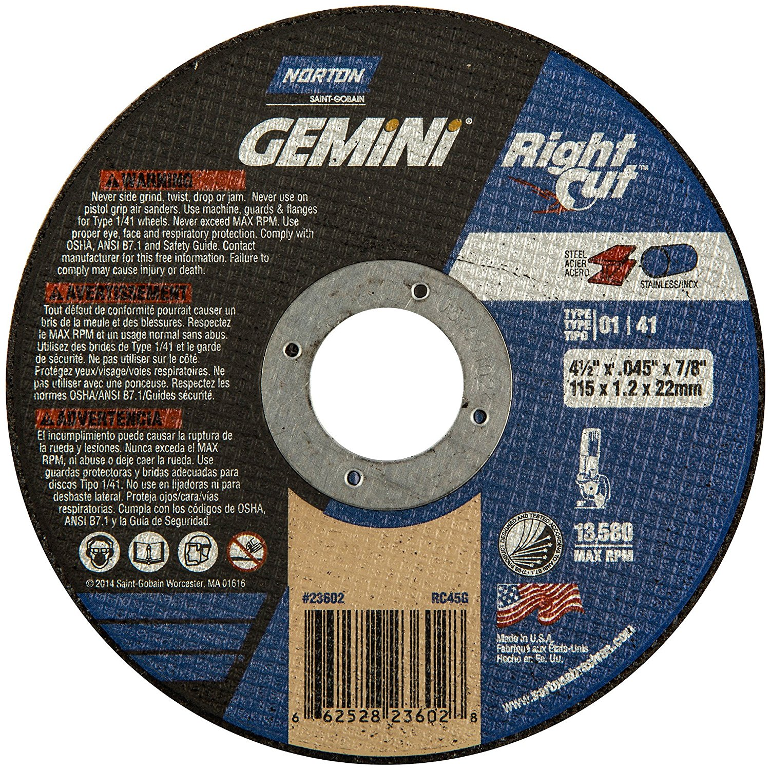 """4-1/2""""X.045""""X 7/8"""" GEMINI RIGHT CUT T-01 (PACKAGE: 25) (Package Size: 1)"""