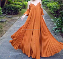 latest pleated design fashion women apparel spaghetti starp swing maxi chiffon eveing dress 2016