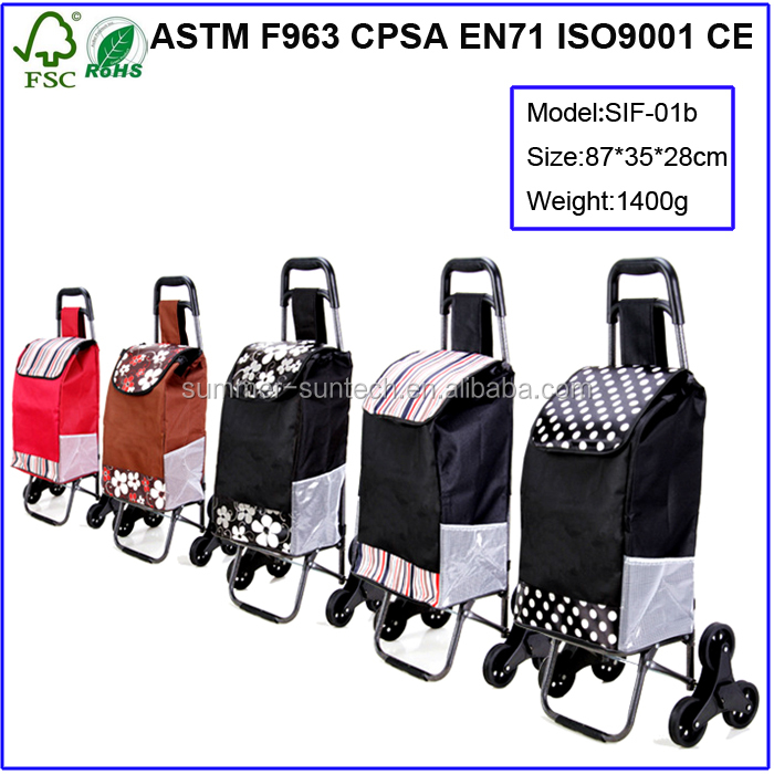 Fancy hand trolley cart folding shopping trolley luggage bag with chair with wheels
