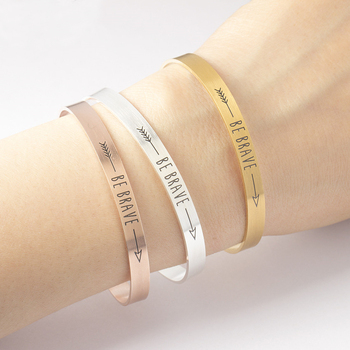 Be Brave Inspirational Quote Bracelets Mantra Jewelry Gift Letter Arrow Bangle Arm Cuff Bracelet
