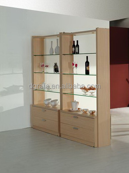 modern glass display cabinet is made by solid wood particle board with melamine