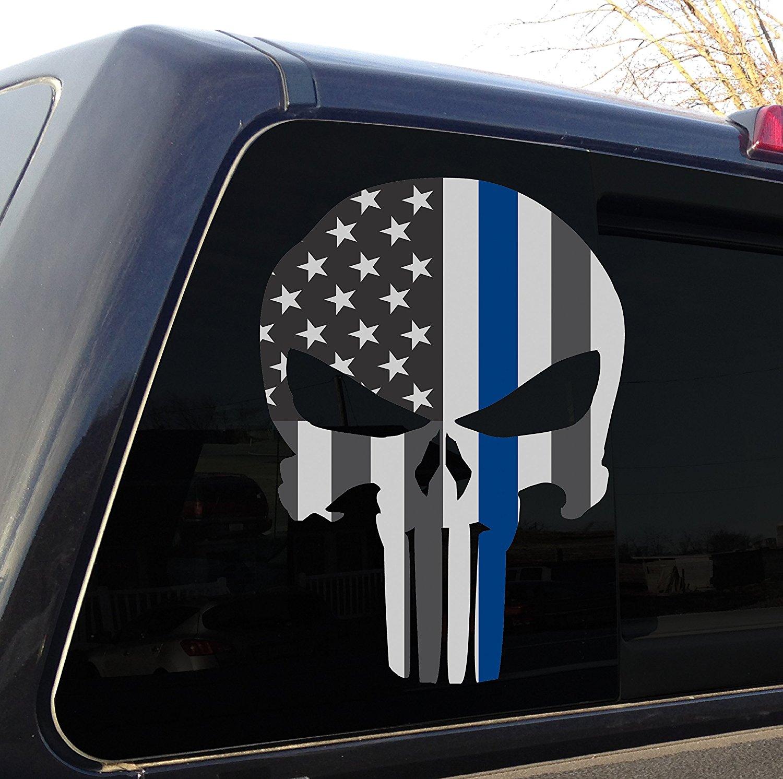 "Punisher Skull Grundge Police Thin Blue Line Decal 10/"" Car Truck Laminated"