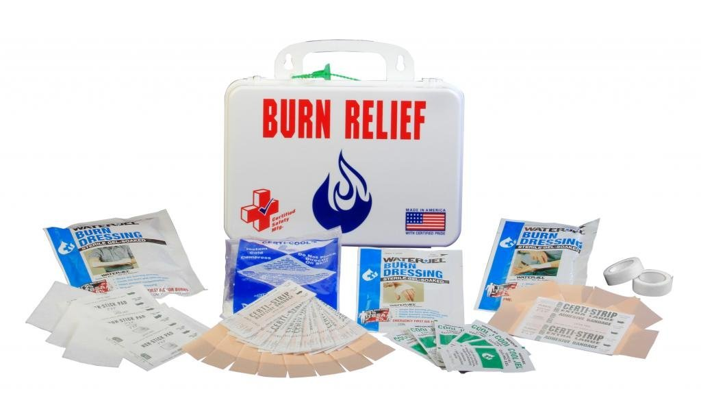 Certified Safety K203-030 16PW Burn Relief First Aid Kit in Poly White