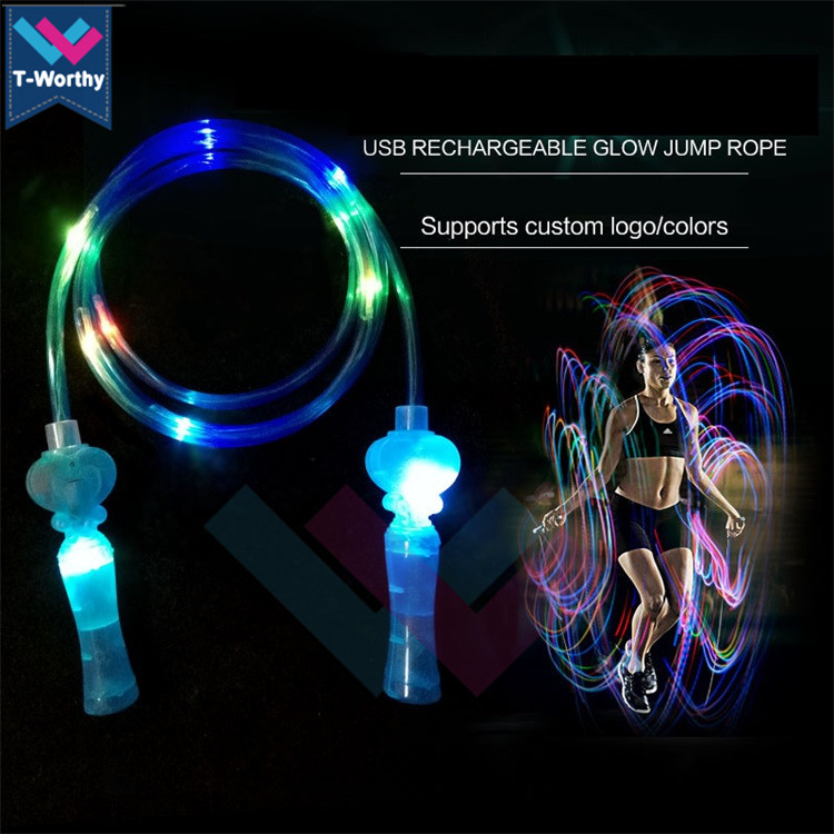 2019 Fashion Anak-anak dan Orang Dewasa dengan Warna-warni Olahraga & Entertainmentjumping LED Berkedip Skipping Rope Light Up Jump Rope