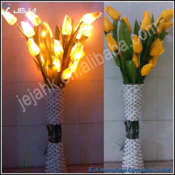 Led Light Up Flower Yellow Tulip For Wedding Decoration