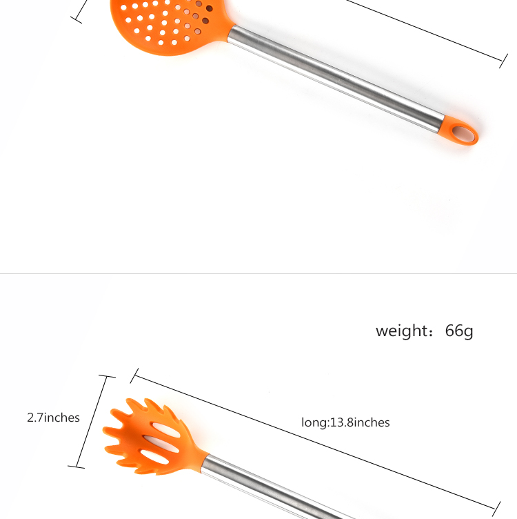 Wholesale FDA Food Garde 8 PCS Silicone Kitchen Utensil Set With Stainless Steel Handle Silicone Utensil Set