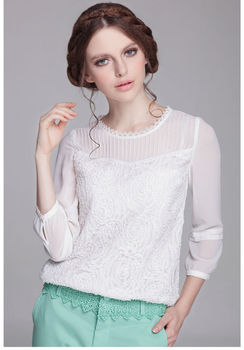 Formal Evening Ladies Long Puff Sleeve Lace Blouses In ...