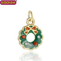 Metal enamel jewelry Christmas necklace charm Christmas Wreath pendant Christmas souvenir pendant for gift #16148