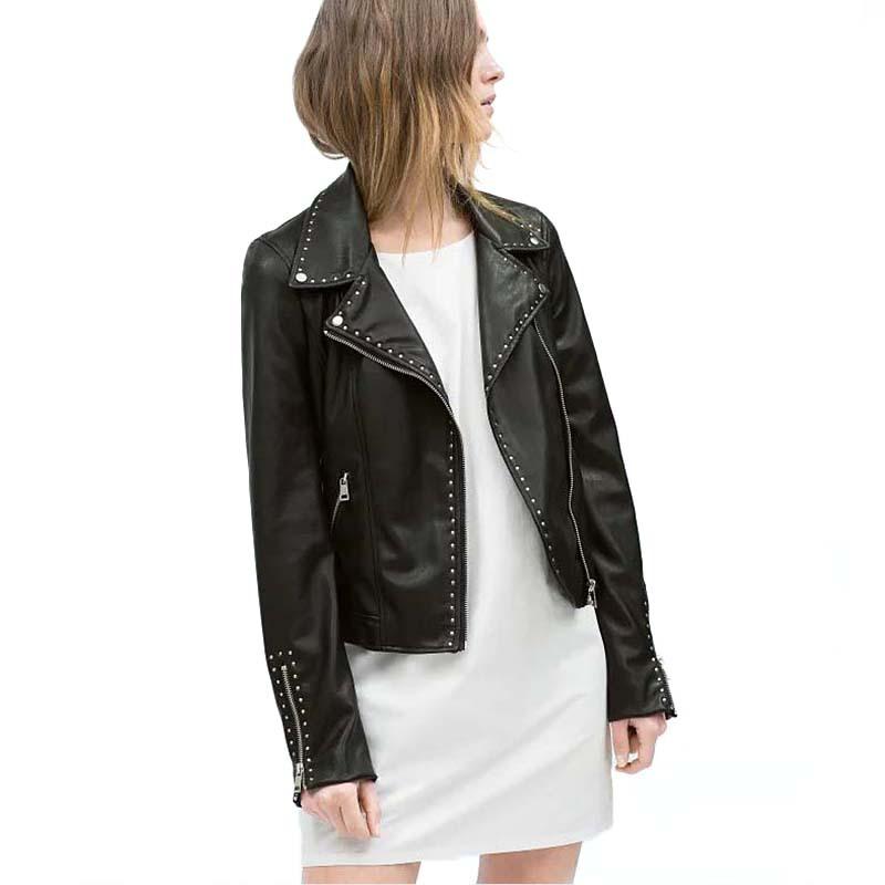 1b394f2e Get Quotations · Rivet Zipper Faux Leather Women PU Jackets Motorcycle Coat  2015 Autumn Winter Brand Cool Black Ladies