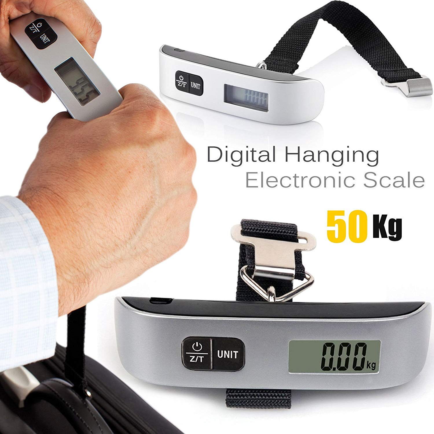 H88 Digital Portable Electronic Scale with LCD Display for Fishing Luggage Travel 110lb//50kg