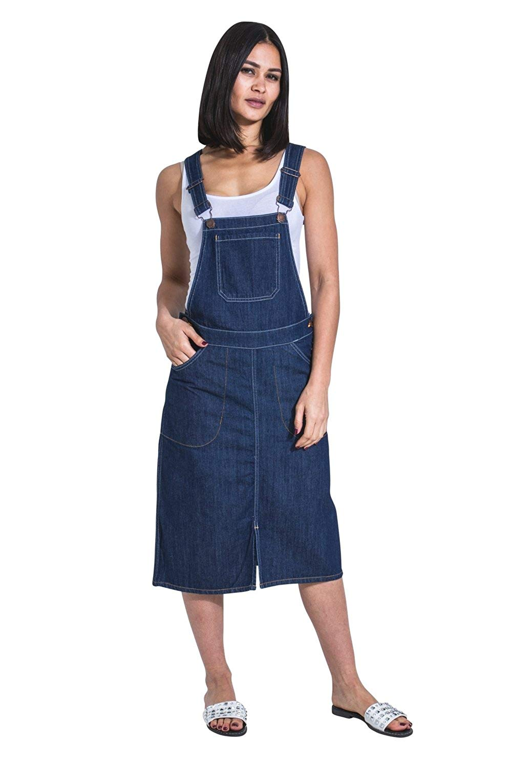 6aaad2485 Get Quotations · USKEES Midi Denim Dungaree Dress - Darkwash Pinafore Bib  Front Split