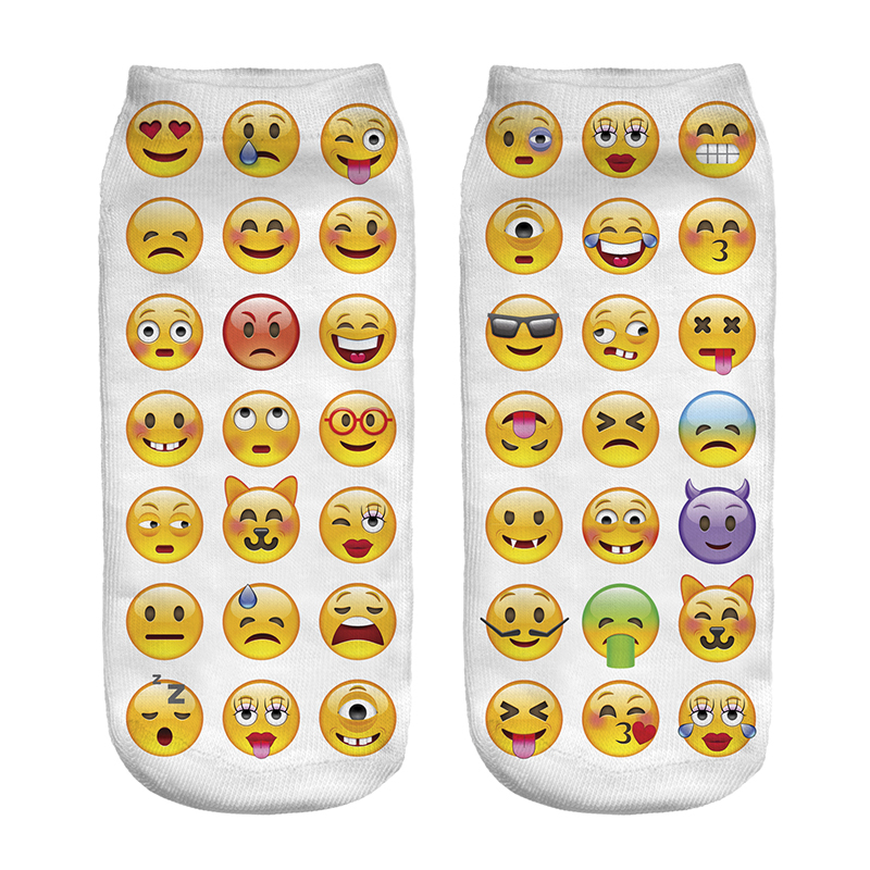 Free Shipping Hot Sale 3D Socks Expression Package Pattern White Color Cozy Socks Thin Comfortable Socks