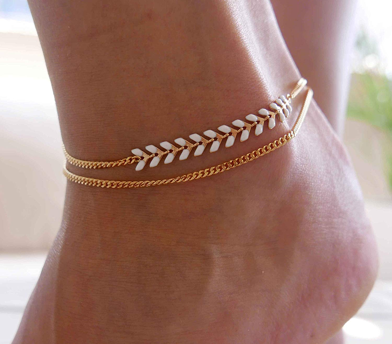 Handmade Gold Anklet For Women Set With White Arrow Chain By Galis Jewelry - Gold Ankle Bracelet For Women - Arrow Anklet - Arrow Ankle Bracelet