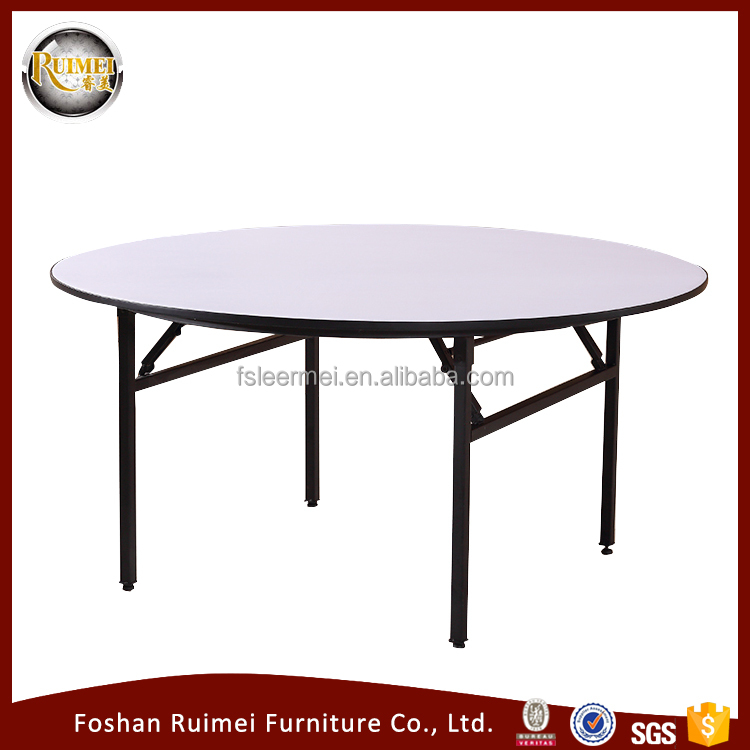 foshan wholesale Hot selling good quality adjustable plywood round dining restaurant folding banquet wedding table