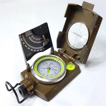 Military Compass Outdoor Camping Equipment 4074,Clinometer Compass with Glass and Paper box packaging