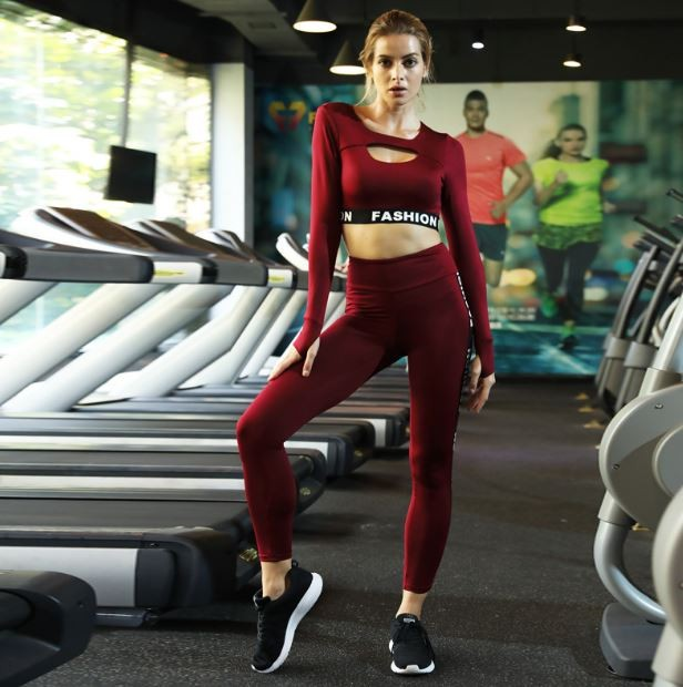 Ladies Gym Wear Custom Private Logo Tight Shirt and Pants Yoga Suit 3