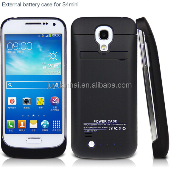High quanlity 2800mAh external rechargeable battery charger case for Samsung galaxy S4 Mini