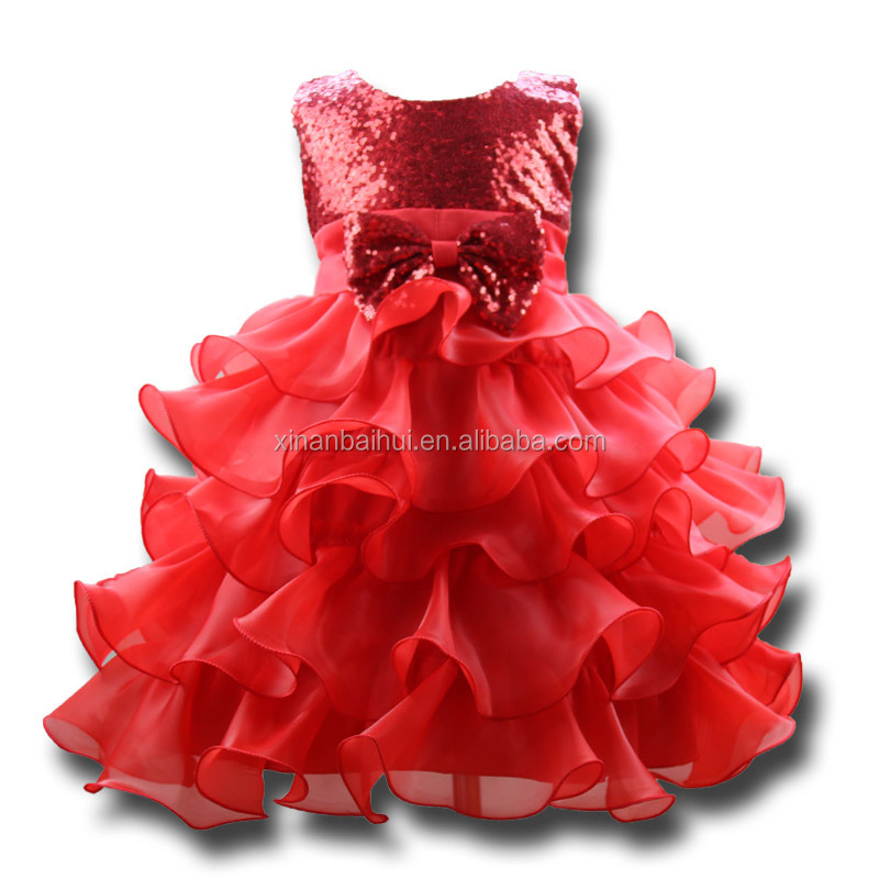 Western style Sequin Princess tutu Dress red fluffy dress with Bow 10 year old kids birthday party dress