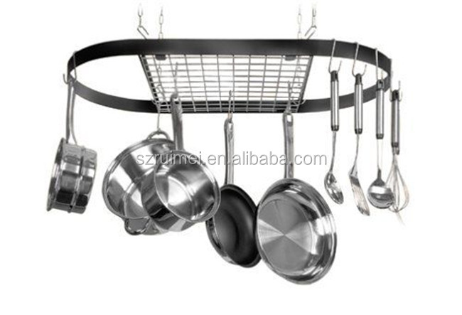 Cuisine plafond suspendu rack pot pan suspension for Suspension ustensiles cuisine