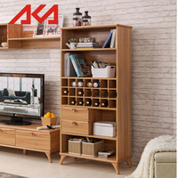 Tall simple solid wood Wine storage Cabinet wood Shelves home furniture