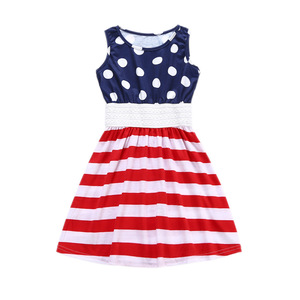 2018 European and American summer new dots stripes flags little girls' dresses independent day girls' skirts