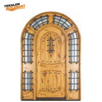 China Latest Single Main Door Round Top Design Half Gl Wooden Interior