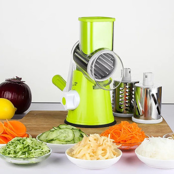 Hot sale Kitchen Manual Rotary Vegetable Slicer 3 Round Stainless Steel Blades Round Vegetable cutter