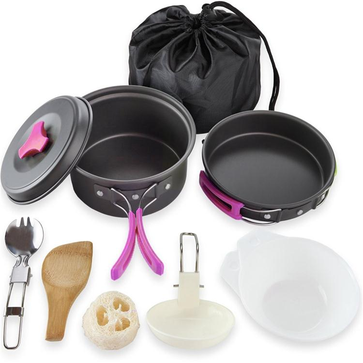 Outdoor Camping pan Hiking Cookware Backpacking Cooking Picnic Bowl Pot Pan Set 4 Piece Camping Cookware Mess Kit