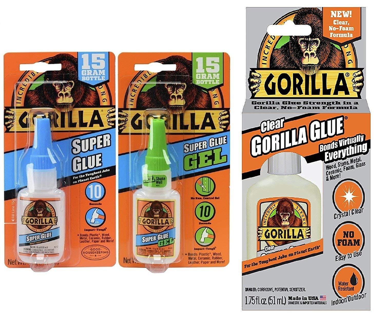 Gorilla Glue Combo Value Pack, including; Gorilla Super Glue Gel, 15g & Gorilla Super Glue, 15 g & Gorilla Clear Glue 1.75 Oz.