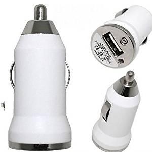 Mini Car Charger USB Adapter White for Verizon LG G2 Optimus G Pro L Flex F6 L9