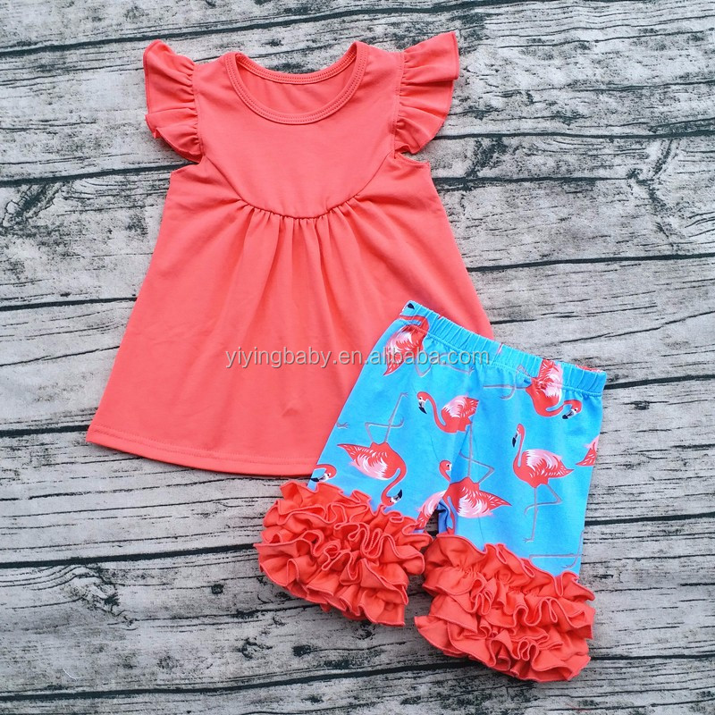 Summer new flamingo printed customized ruffle shorts and pearl tops matching outfit kids clothes set