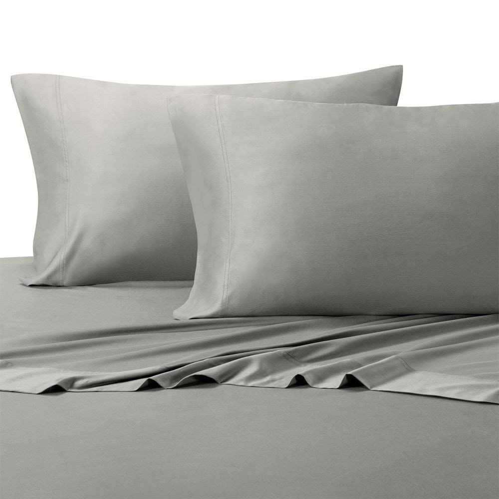 Royal Hotel Top-Split King: Adjustable Split Top King Gray Silky Soft Bed Sheets 100% Bamboo Viscose Sheet Set
