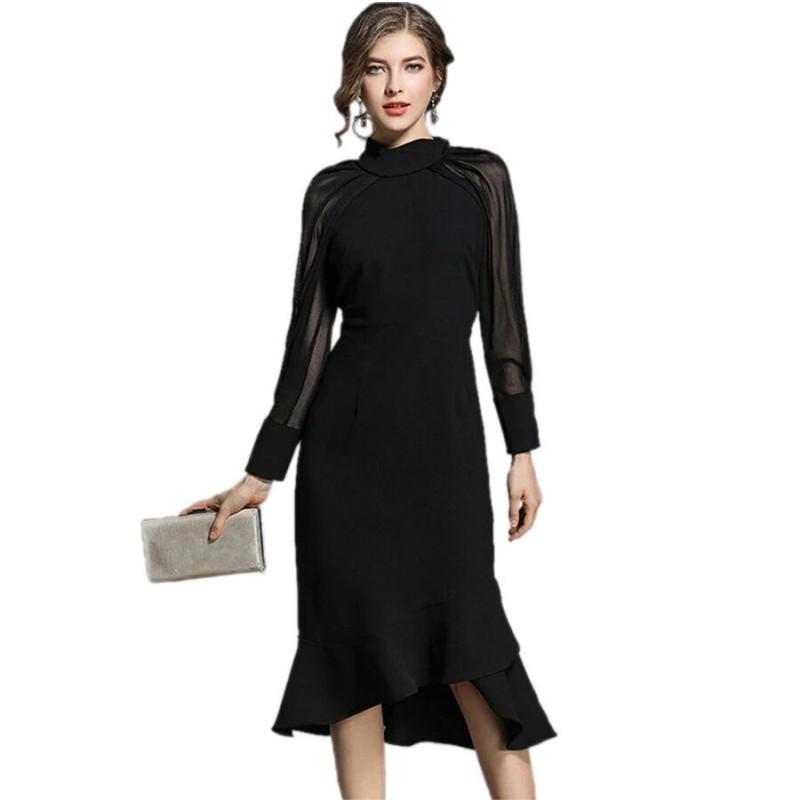 Meilleurs Robe Longue Mi Grossiste Les Noire Acheter vN08Omnyw