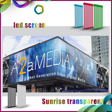 2016 p31.25mm P7.8125mm led mesh curtain led display video transparent led media facade
