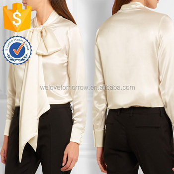 c94fb87b958f9b Front Snap and Button Ivory Pussy-bow Silk-satin Blouse Manufacture Women  Wholesale Fashion