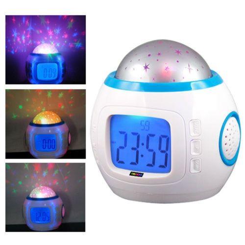 3684a0cf83c Crianças Presente de Natal Do Bebê Céu Estrela Night Light Projector Lamp  Quarto Relógio Despertador com