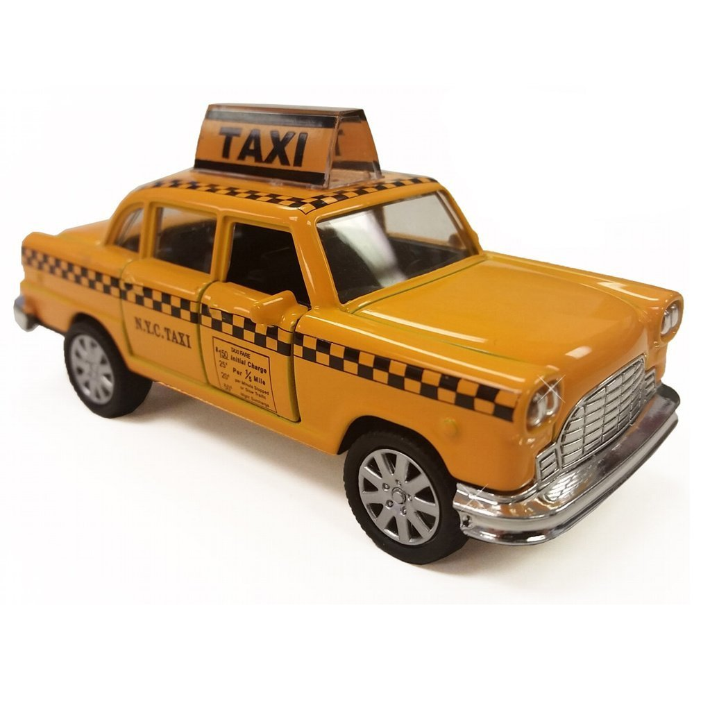 NYC Taxi in Yellow Cab with Pullback Action, Die Cast New York City Taxi Toy