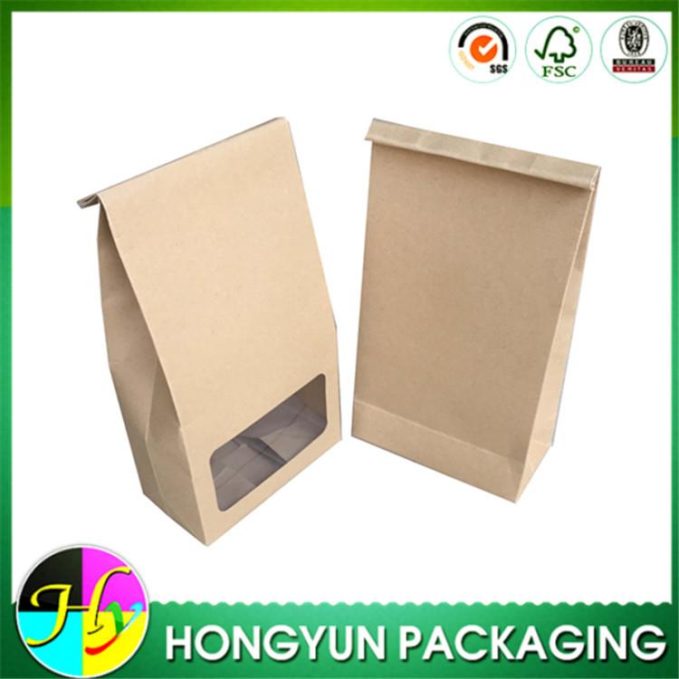 Brown Kraft Food Packaging Paper Bags With Window