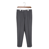 Polyester viscose mens formal trousers with cuffed hem
