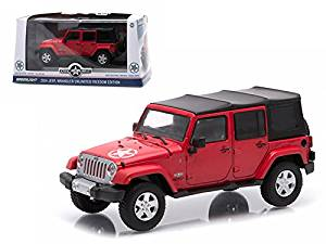 2014 Jeep Wrangler Unlimited Freedom Edition (Soft Top ) Flame Red With Display Showcase 1/43 Model Car by Greenlight